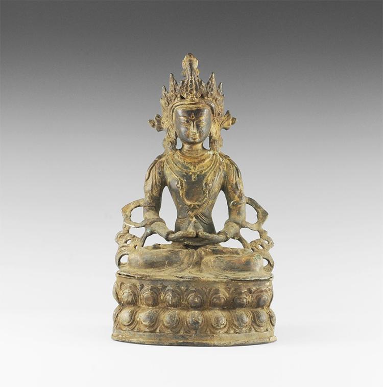 Sino-Tibetan Gilt Amitabha Buddha Figure