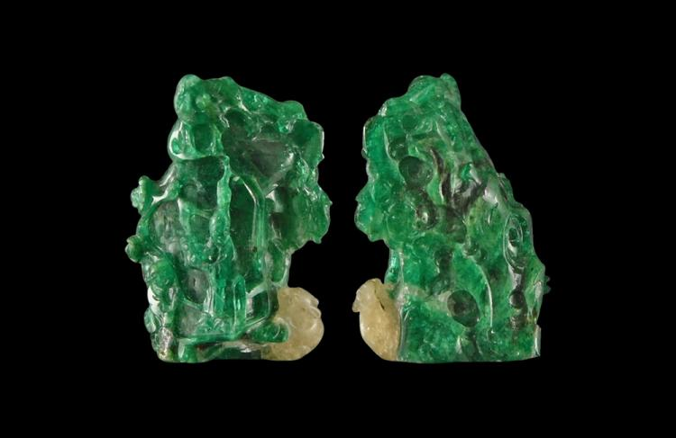 Chinese 353.71 Carat Emerald Carved Chang'e Figure