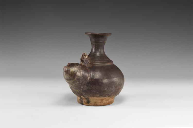 Thai Brown Glazed Zoomorphic Vessel