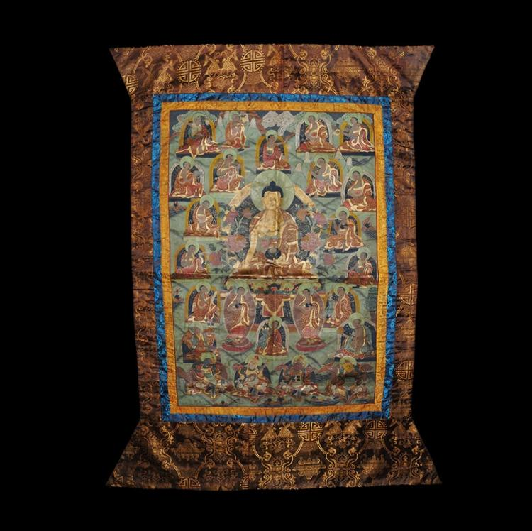 Tibetan Thanka with Nimbate Buddha