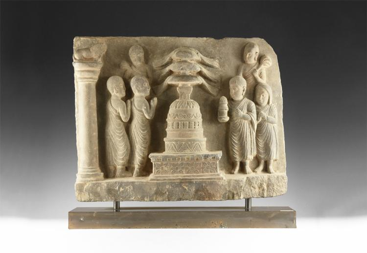 Gandharan Stupa and Disciples Freeze Panel
