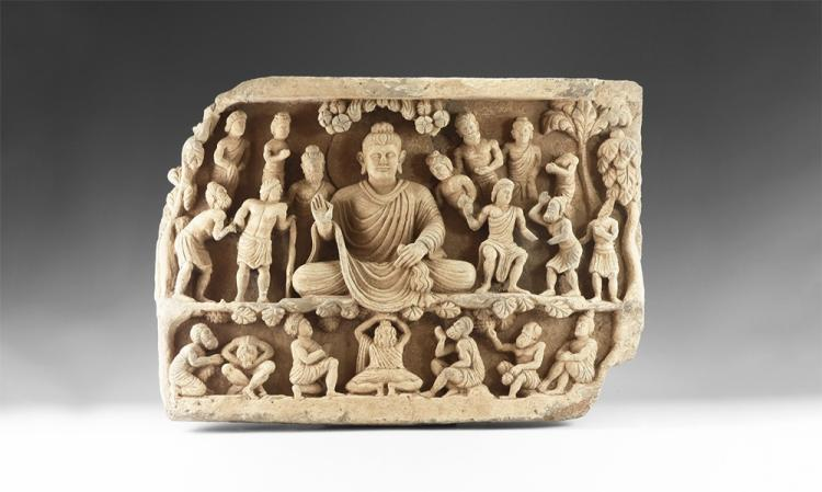 Gandharan Meditating Buddha Freeze Panel