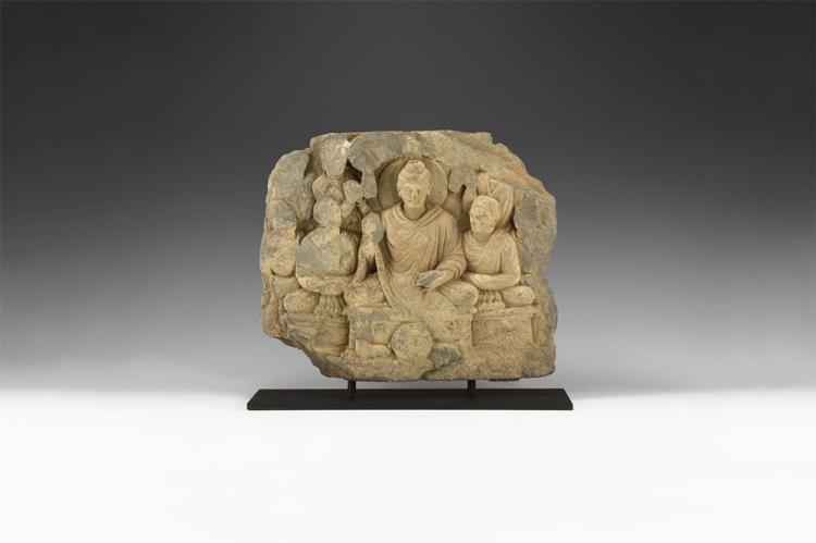 Gandharan Meditating Buddha Freeze Panel