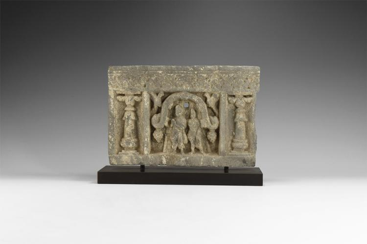 Gandharan Buddha and Disciple Freeze Panel