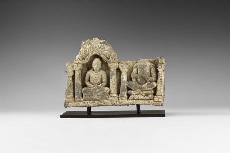 Gandharan Meditating Buddha and Maitreya Freeze Panel