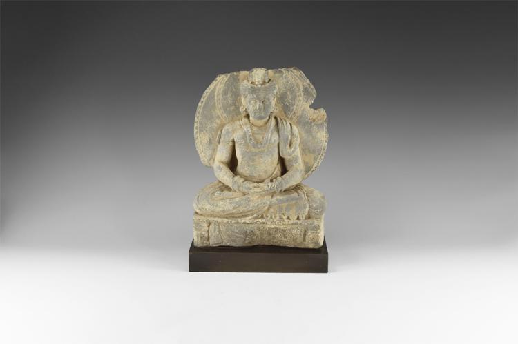 Gandharan Stitting Bodhisattva Maitreya Statuette