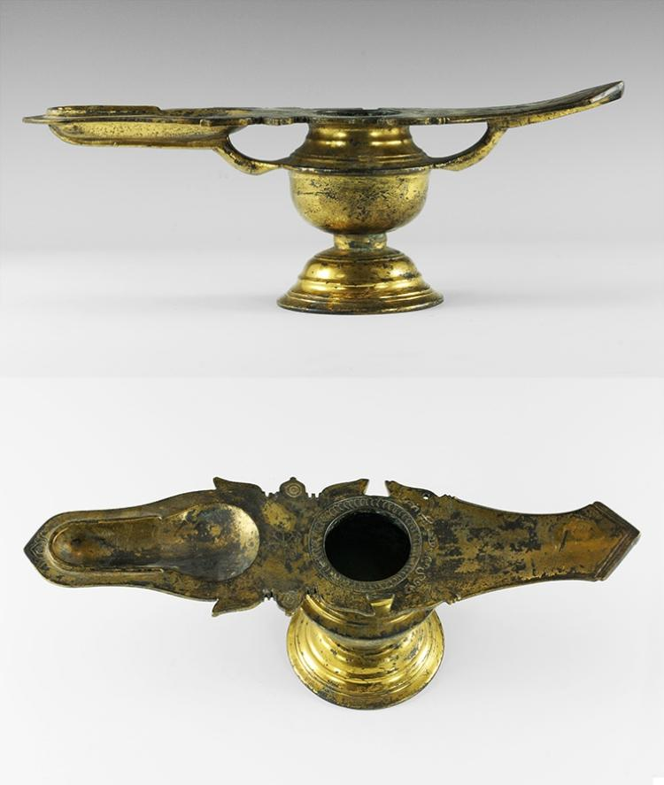 Indian Gilt Marriage Oil Lamp
