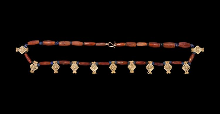 Islamic Gold and Carnelian Bead Necklace