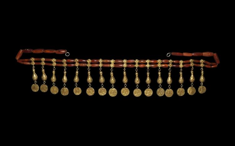 Islamic Gold Persian Coin-Bracteate Fringe Necklace