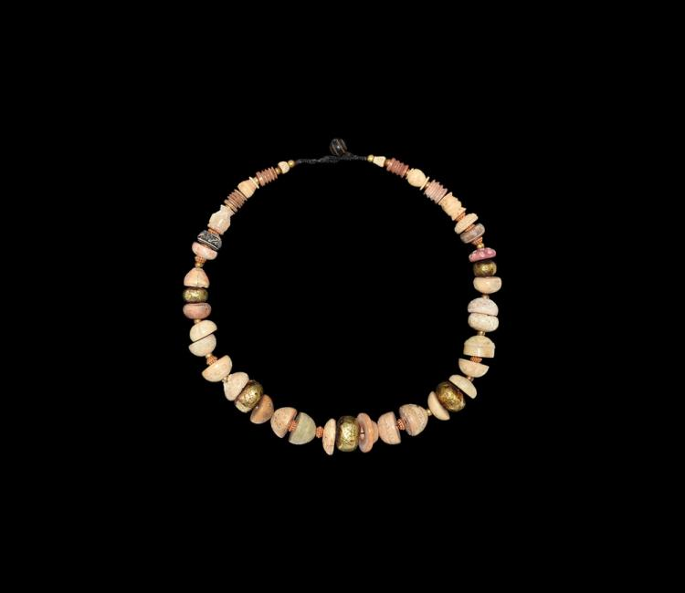Islamic Gold and Turned Bone 'Spindle-Whorl' Necklace