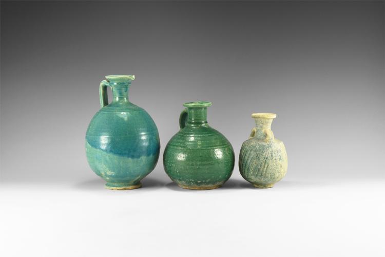 Islamic Seljuk Green-Glazed Vessel Group