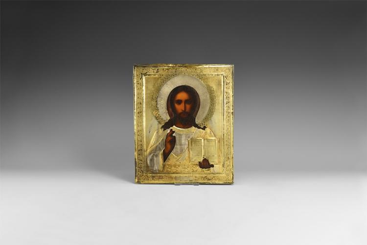 Post Medieval Russian Icon of Christ Pantocrator
