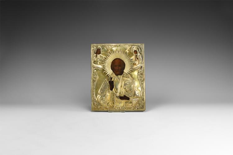 Post Medieval Russian Icon of Saint Nicholas