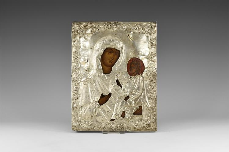 Post Medieval Russian Icon of Tikhvin Mother of God