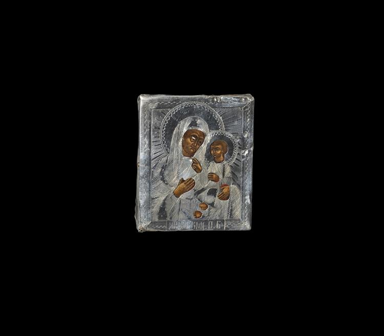 Post Medieval Russian Baptismal Icon with Iverskaya Virgin and Child