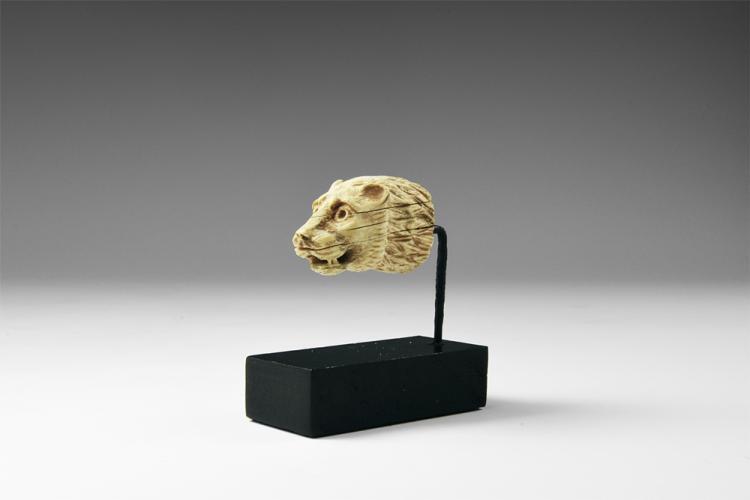 Western Asiatic Neo-Assyrian Ivory Lion Head Knife Pommel
