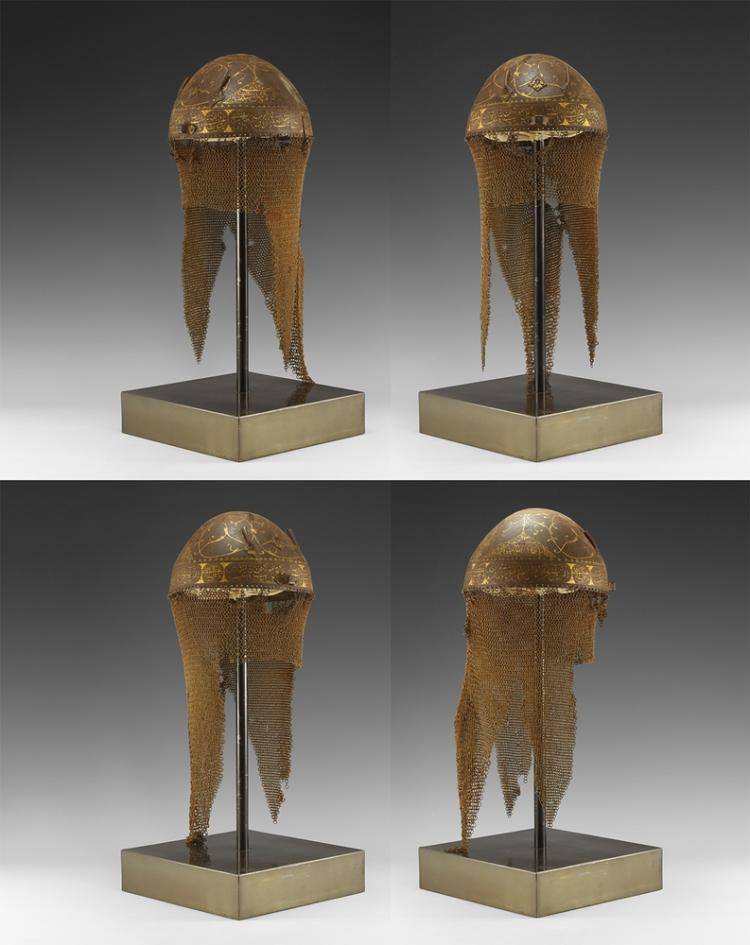 Islamic Gilt Engraved Kulah Khud Helmet