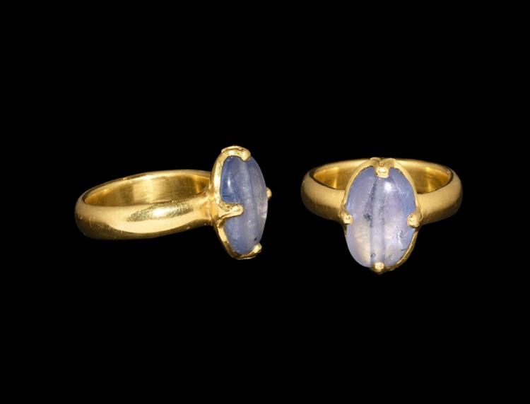 Medieval Massive Gold Ring with Sapphire