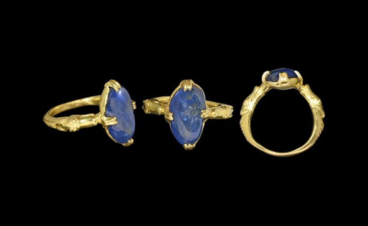 Medieval Gold Ring with Dragons and Sapphire