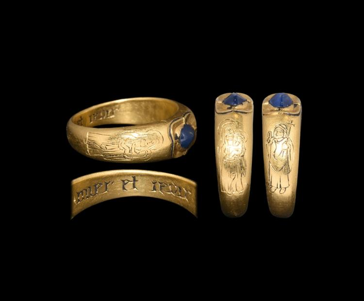 Medieval Gold 'Love and Enjoy' Iconographic Ring with Sapphire