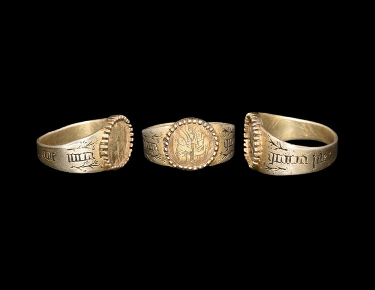 Medieval Gilt Iconographic Ring with Crown of Heaven