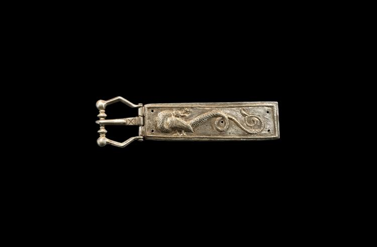 Medieval Gilt Buckle with Dragon