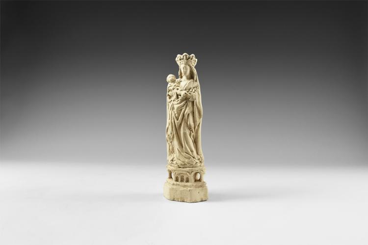 Medieval Mary and Child Statuette