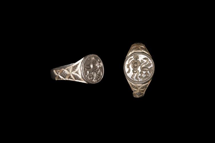 Medieval Gilt Figural Signet Ring