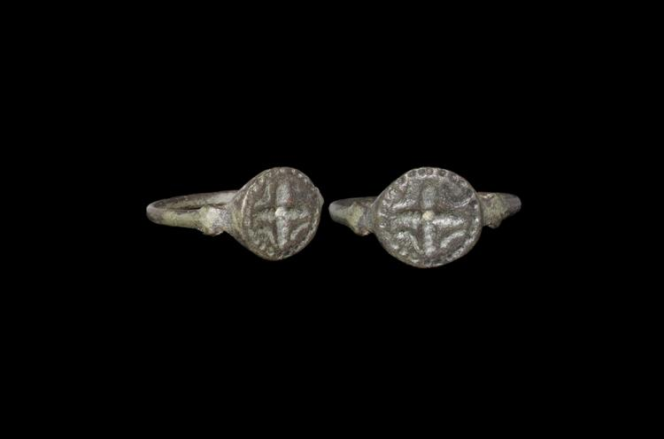 Medieval Ring with Cross and Pellets