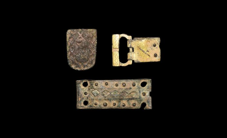 Medieval Gilt Belt Buckle and Mount Group