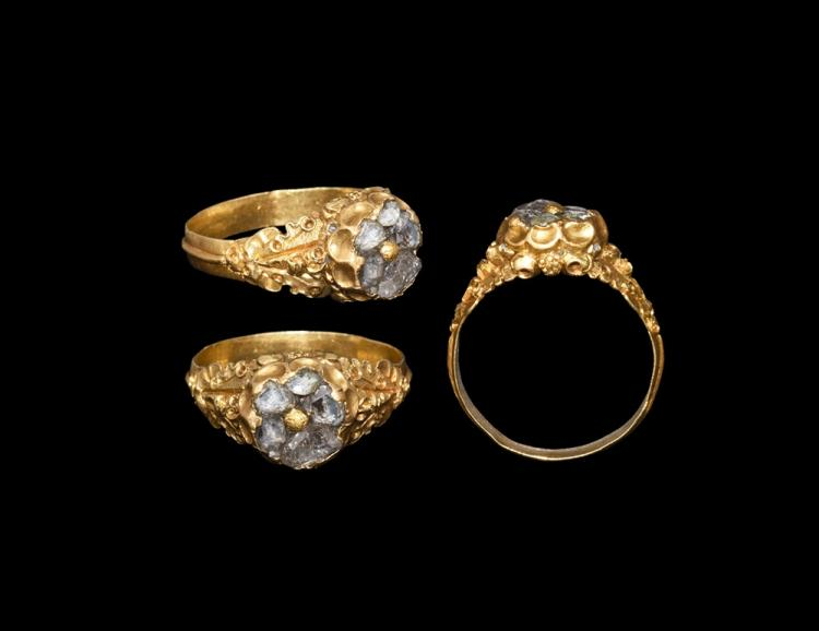 Post Medieval Tudor Gold Ring With Diamonds