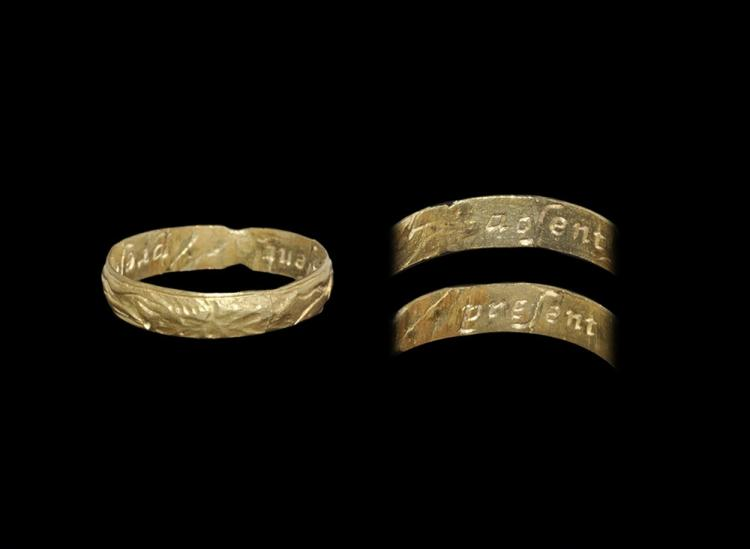 Post Medieval Gold 'Absent Present' Posy Ring
