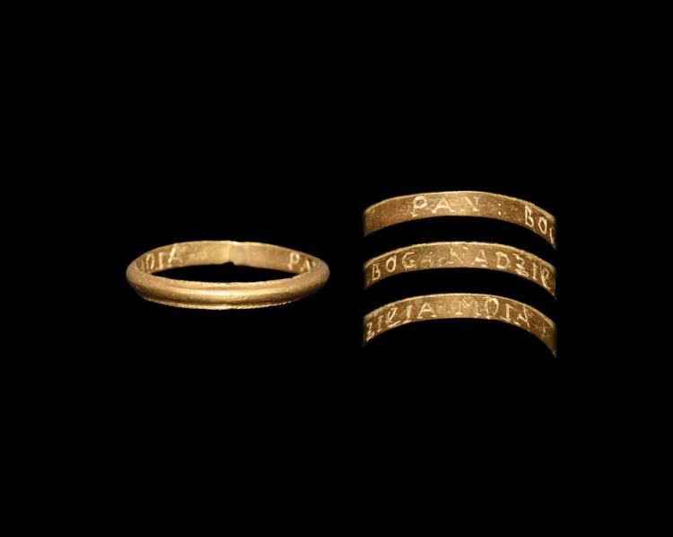 Post Medieval Gold 'I hope only to God' Posy Ring