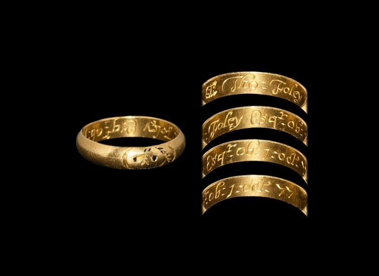 Post Medieval Gold 'Thomas Foley' Skull Ring
