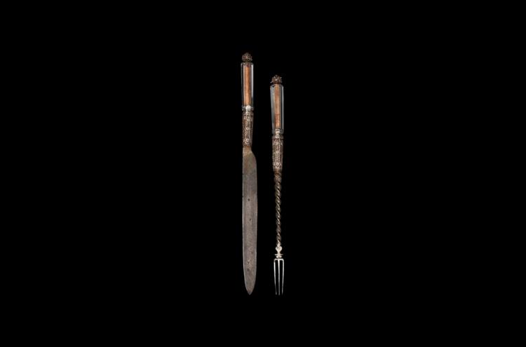 Post Medieval Queen Anne Crystal Top Knife & Fork Pair