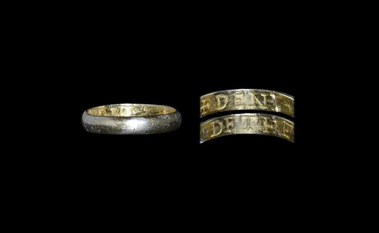 Post Medieval Gilt 'If denied, he will die' Posy Ring