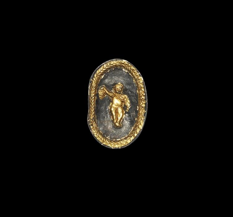 Post Medieval Gilt Box with Cherub