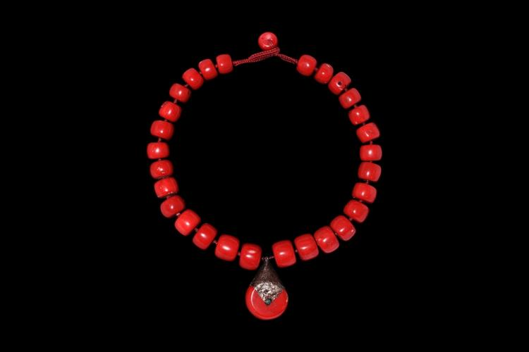 Post Mediaval Coral Bead Designer Necklace