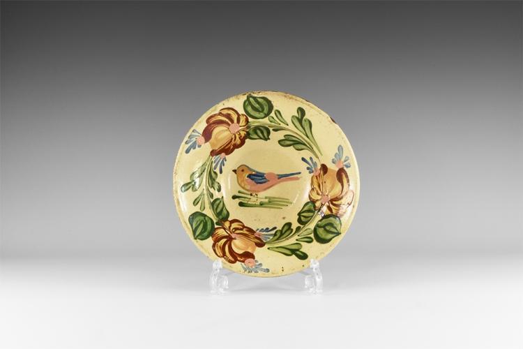 Post Medieval Dutch Dish with Bird