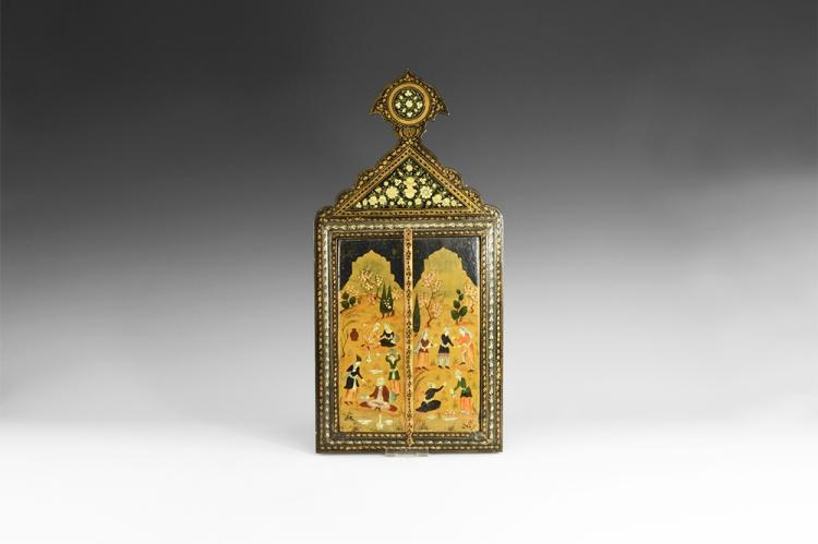 Western Asiatic Persian Painted Mirror Case