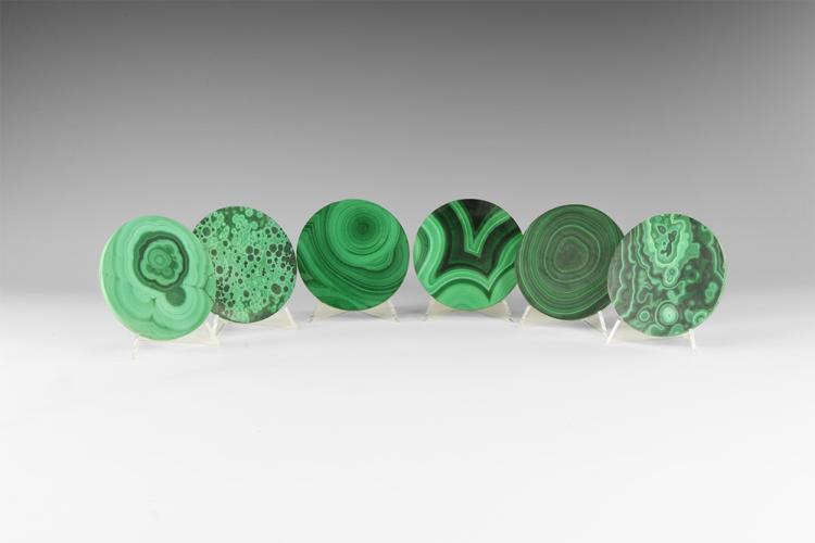 Natural History - Polished Malachite Coaster Set.