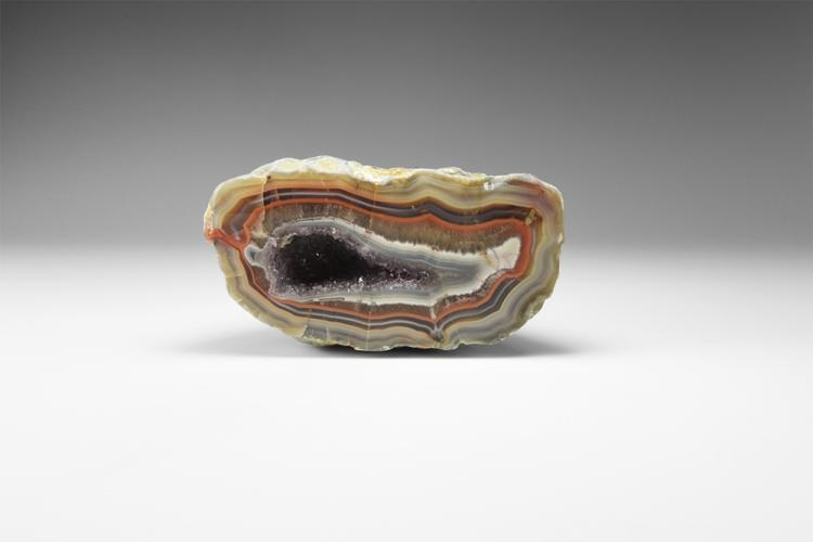 Natural History - Polished Multi-Coloured Agate Geode.