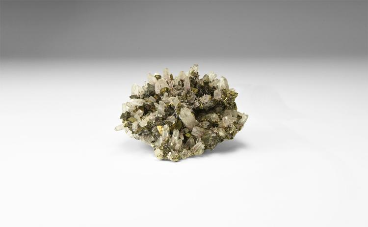 Natural History - Quartz and Tetrahedrite Mineral Specimen.