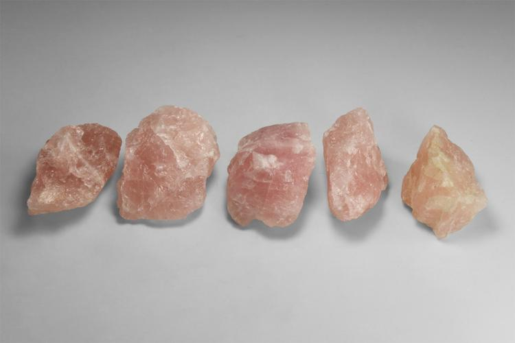Natural History - Rose Quartz Mineral Specimen Group.