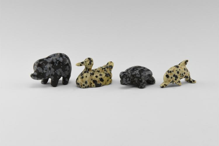 Natural History - Carved Gemstone Animal Group.