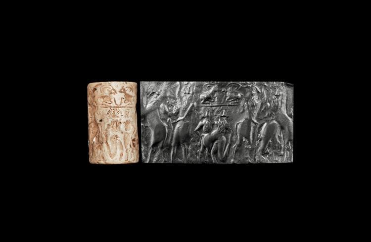 Western Asiatic Mesopotamian Cylinder Seal with Lamassu God
