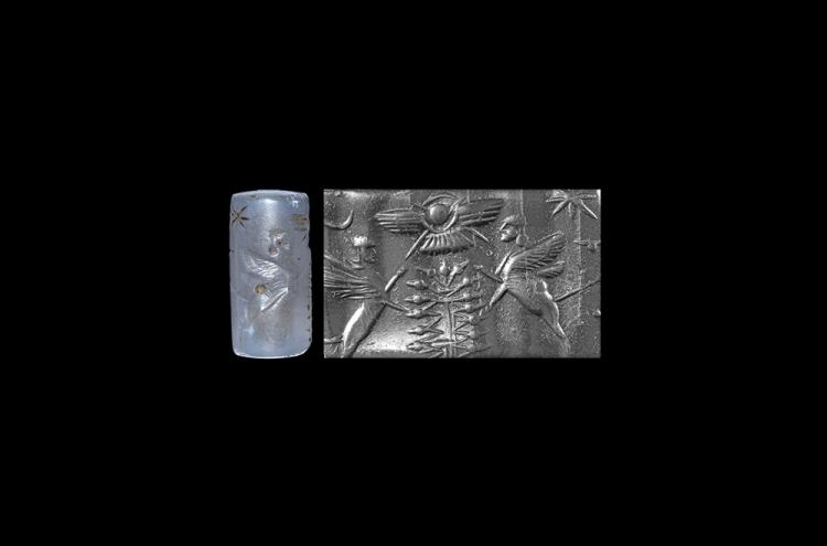 Western Asiatic Neo-Babylonian Cylinder Seal with Sphinxes