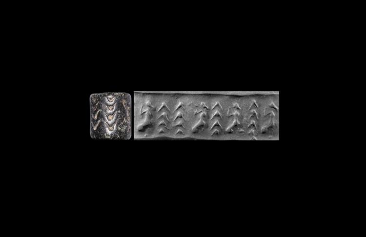 Western Asiatic Sumerian Cylinder Seal with Female Figurines