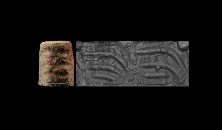 Western Asiatic Mesopotamian Cylinder Seal with Animals