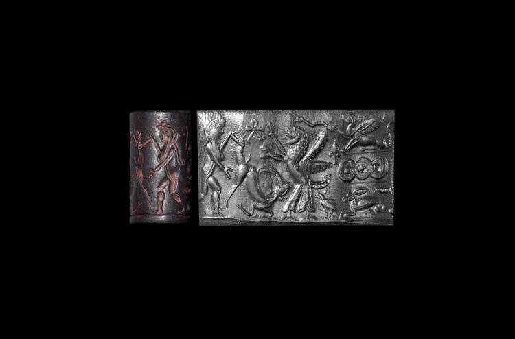 Western Asiatic Old Babylonian Period Cylinder Seal with Figures